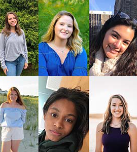 From top left to bottom right: Alejandra Martinez, '22, Fiona Pierce, '22, Mackenzie Shelley, '22, Anna Tign要么, '22, Joy Walker, '22, and Erin Wilson, '22